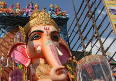 People pray to 58 feet high Lord Ganesh idol, at Khairatabad, Hyderabad,india Royalty Free Stock Images