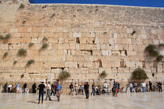 People pray a the Western Wall. JERUSALEM ISRAEL 26 10 16: People pray a the Western Wall, Wailing Wall or Kotel the Place of Weeping is an ancient limestone Stock Images