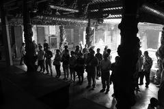 People pray in xiamen tzu chi temple, black and white image Royalty Free Stock Photo