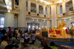 People praying and have benediction to Luangpho Ph. CHACHOENGSAO,THAILAND - APRIL 24 : People praying and have benediction to Luangpho Phuttha Sothon at Wat royalty free stock photography