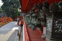 People praying at Kasuga Taisha, the famous shrine in Nara Japa. N. Pic was taken in August 2017 Royalty Free Stock Photos