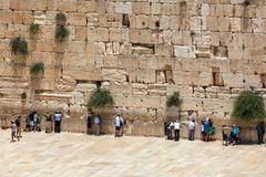 People praying at Western Wall in Jerusalem, Israel. Stock Photos