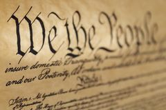 We The People. Preamble of the United States Constitution with selective focus and shallow depth of field Royalty Free Stock Photo