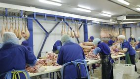 Workers of the meat-packing plant prepare fresh meat for delivery to stores and production of sausages stock footage