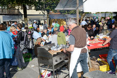 People preparing food at the autumn festival at Engelberg Stock Image