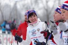 People preparing to the start of ski race Ski Track of Russia Stock Photo