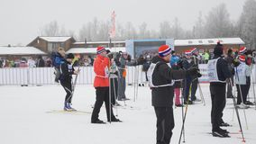 People preparing to the start of ski race Ski Track of Russia stock video footage
