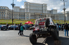 People present at Bucharest Auto Show on April 4 2015 in front of the Palace of the Parliament Stock Images