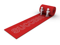 People present the way to success. Two 3d people are unrolling rug with success word Royalty Free Stock Image