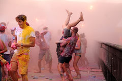 People at the Pringles Holi Colour Party at FIB (Festival Internacional de Benicassim) 2013 Festival Stock Photos