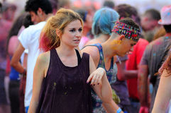 People at the Pringles Holi Colour Party at FIB (Festival Internacional de Benicassim) 2013 Festival Stock Image