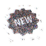 People prints novelty 3d. Large and creative group of people gathered together in the shape of prints, novelty image. 3D illustration, isolated, white background Royalty Free Stock Image