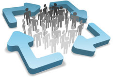 People in process management recycle cycle arrows