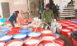 People processing Kudzu flour Stock Photography