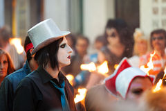 People at procession of burial Carnestoltes in Sitges Royalty Free Stock Photos