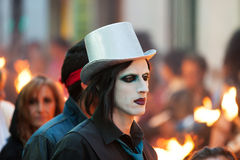 People at procession of burial Carnestoltes Stock Image