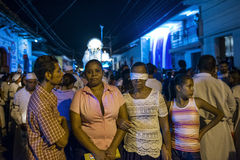 People in a procession at night in the streets of the city of Leon in Nicaragua during the Easter celebrations Royalty Free Stock Photography