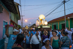 People in a procession in the streets of the city of Leon in Nicaragua during the Easter celebrations Stock Images