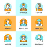 People profession line icons set. Line icons set with flat design elements of various business people profession, professional human occupation, basic characters Stock Photography