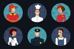 People profession, occupation. Firefighter, cooker. Different professions and occupations. Work uniform. Vector Stock Photography