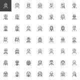 People professions avatar line icons set vector illustration