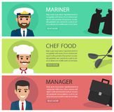 People Professions Fat Vector Web Banners Set Stock Photos