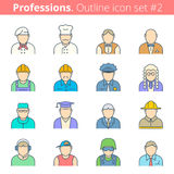 People professions and occupations color outline icon set #1 Royalty Free Stock Photography
