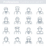 People professions and occupations outline icon set #1. Modern thin line icons set of people avatars. Premium quality outline symbol collection. Suitable for Stock Photos