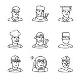 People professions paces icons thin line art set Royalty Free Stock Photography