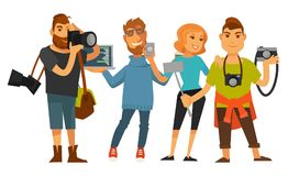 People professions photographer cameraman or journalist , IT manager vector flat isolated set Stock Image