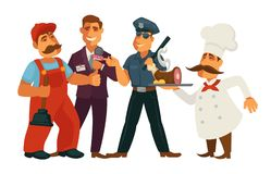 People professions plumber, journalist and policeman chef vector flat isolated set Stock Photo