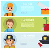 People Professions Fat Vector Web Banners Set. People professions web banners set. Builder, gardener and firefighter cartoon characters with instrument or Royalty Free Stock Image