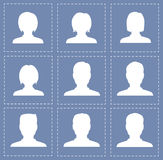 People profile silhouettes women and men in white color. Illustration Stock Photos