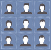 People profile silhouettes women and men in white with dark colo. R. Illustration Royalty Free Stock Image