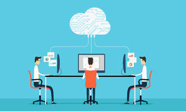 People programing develop web and application on cloud net work. People  Programing  working and connection to business on cloud Stock Image