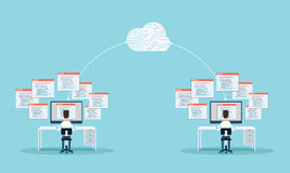 People programming develop web site and application on cloud.business connection.people working on monitor .  Image ID:352196522 Stock Image