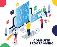People Programming on a Laptop to Make Website Isometric Artwork Concept stock illustration