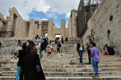People at the propylea of acropolis Royalty Free Stock Photo