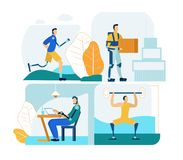 People with Prosthesis in Work and Life. Flat Set. royalty free illustration