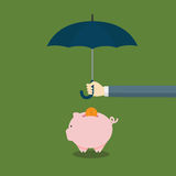 People Protecting His Piggy Bank With Umbrella Concept Royalty Free Stock Photography