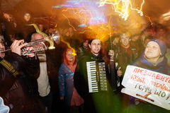 People protest at EuroMaidan, Kiev, Ukraine, November 22 Royalty Free Stock Image