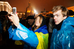 People protest at EuroMaidan, Kiev, Ukraine, November 22 Royalty Free Stock Photography