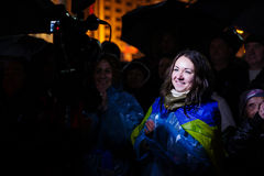 People protest at EuroMaidan, Kiev, Ukraine, November 22 Stock Image
