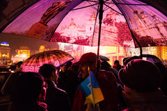 People protest at EuroMaidan, Kiev, Ukraine, November 22 Stock Photography