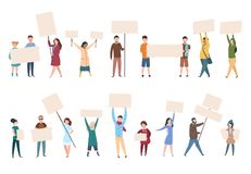 People protest. Male female activists with banners and placards in politics manifestation. Political activist vector. Characters set stock illustration