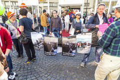 People protest for the welcome culture for refugees. FRANKFURT, GERMANY - OCT 3, 2015: people protest for the welcome culture for refugees at the celebration of stock photography