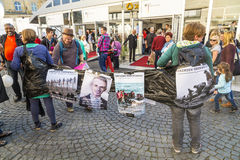 People protest for the welcome culture for refugees. FRANKFURT, GERMANY - OCT 3, 2015: people protest for the welcome culture for refugees at the celebration of royalty free stock images