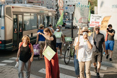 People protesting against air pollution Stock Photo