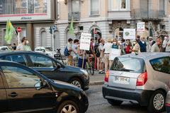 People protesting against air pollution Stock Images