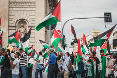 People protesting against Gaza strip bombing in Milan, Italy Stock Images